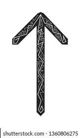 Rune Teiwaz. Ancient Scandinavian runes. Runes senior futarka. Magic, ceremonies, religious symbols. Predictions and amulets. Ornament lightning. White background, black runes and white ornament