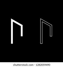 Rune Uruz Urus aurochs power icon set white color
