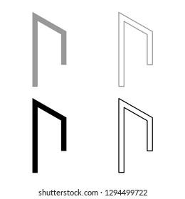 Rune Uruz Urus aurochs power icon set grey black color vector illustration outline flat style simple image