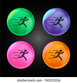 Runer silhouette running fast crystal ball design icon in green - blue - pink and orange.