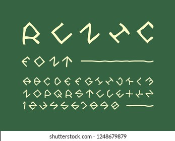 Runic font. Vector alphabet letters and numbers. Typeface design.
