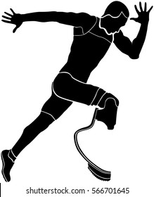 runner athlete disabled amputee black silhouette
