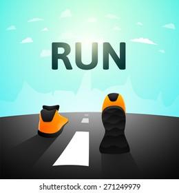 Runner athlete shoes on road, jog workout wellness concept, vector illustration background