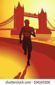 The Runner in background London Tower Bridge.
