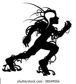 Runner black vector silhouette abstract design element