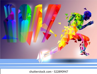 Runner created from triangles on the background of 2017. The symbol of the new year.