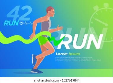 Runner Design presentation 1 Cover Banner. Training, advertising, motivation event, print, advertising marathon