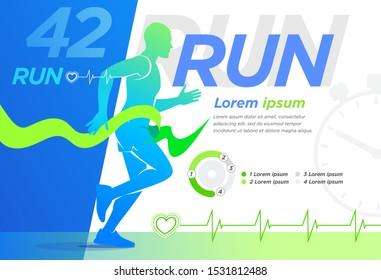 Runner Design presentation Cover Banner. Training, advertising, motivation event, print, advertising marathon.