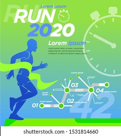 Runner Design presentation Square banner advertising cover. Training, advertising, motivation event, print, advertising marathon.
