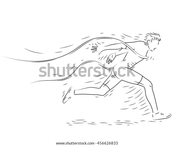 Runner Finish Line Hand Drawn Sketch Stock Vector (Royalty