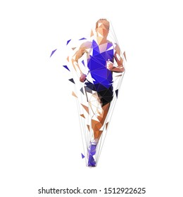 Runner, front view isolated polygonal vector illustration, abstract geometric drawing of marathon runner in purple shirt