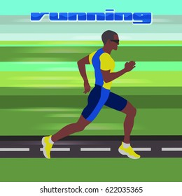 Runner at high speed moving along the road. Healthy life style. Athlete on the competition or marathon. Useful to design sports banners, icons, backgrounds and posters.