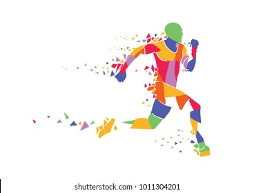 runner illustration. colorful illustration. lifestyle and sporty illustration. grapich asset.
