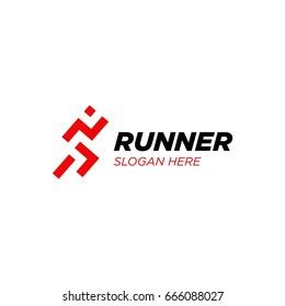 runner logo design template vector illustration