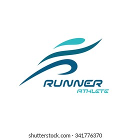 Runner logo. Fast simple stylized athlete figure.