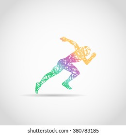 Runner logo in rainbow colors