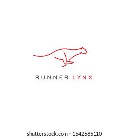 Runner lynx vector logo design inspirations. Hand drawn minimalism style vector illustration.