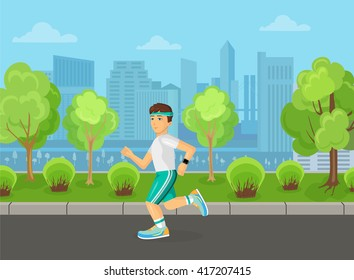 Runner man running on the street city park concept. Sport and Healthy concept.