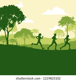 Runner marathon in the forest nature silhouette cartoon vector illustration