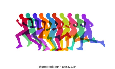 Runner in motion, concept for marathon run or competition, eps10 vector