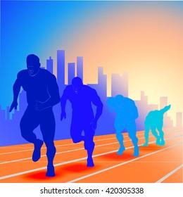 runner on start silhouette blue