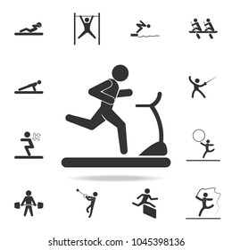 runner on the treadmill icon. Detailed set of athletes and accessories icons. Premium quality graphic design. One of the collection icons for websites, web design, mobile app on white background