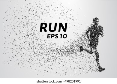 Runner of the particles. The man runs and the wind out of him pulling out pieces in the shape of a circle. Vector illustration