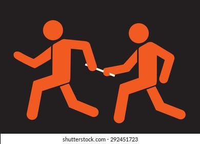 runner passing the baton to teammate