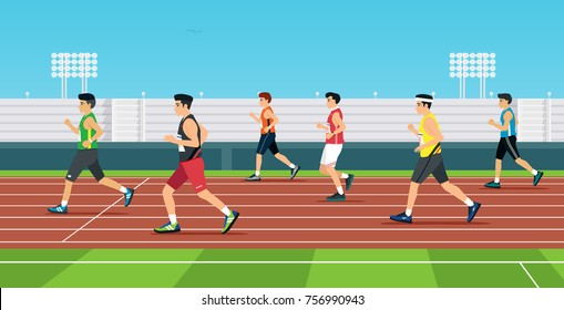 The runner is running in the race track.