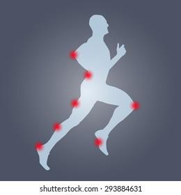 Runner silhouette anatomy. Pain, sport, run, health, hurt, ache, medical, health care
