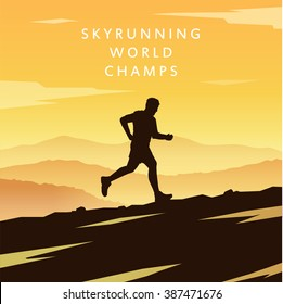 Runner silhouette. Skyrunning poster. Extreme sports. Vector Mountain landscape. Outdoor sports. Hiking. #1