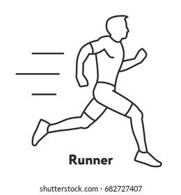 Runner Sportsman Athlete Moving Minimal Flat Line Outline Stroke Icon Pictogram
