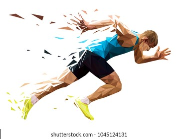 runner sprinter explosive start in running. polygonal particles
