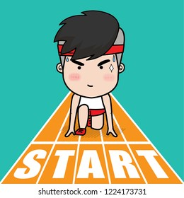 Runner at the starting point.  Flat Vector Illustration