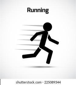Runner stick figure icon. Vector illustration.