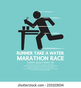 Runner Take a Water In a Marathon Race Symbol  Vector Illustration