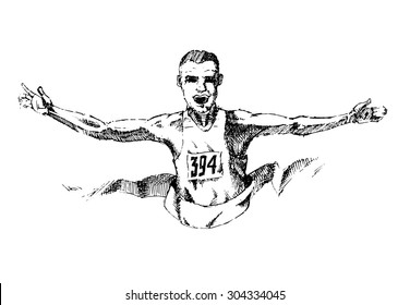 Runner won the marathon. Sketch on white background.