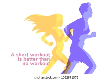 Runners colorful silhouettes of running man and woman on white, sport and activity background, vector design template