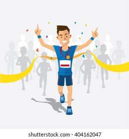 Runners cross the finish line with medal cartoon