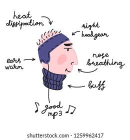 Runner's head, concept funny vector illustration