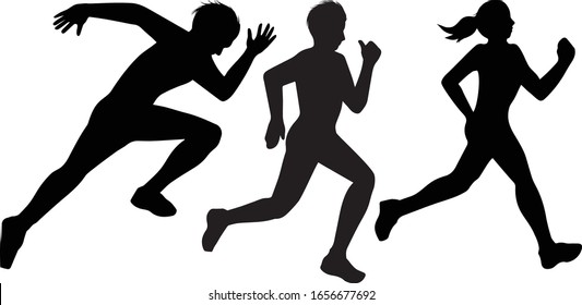 Runners Marathon Cross Country Sports Silhouettes Vector