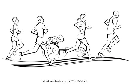 Runners in a marathon. Three men & two women runners with one wheel chair racer running on a swoop design.