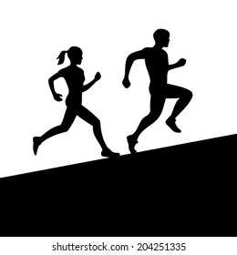 Runners, Men and Women Running Silhouette. Vector illustration