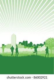 runners on a cityscape background