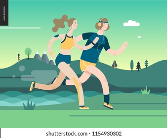 Runners - runners in the park - flat vector concept illustration of young man and woman with headphones, sporting equipment. Healthy activity. Green park, trees, hills and a lake landscape at dawn