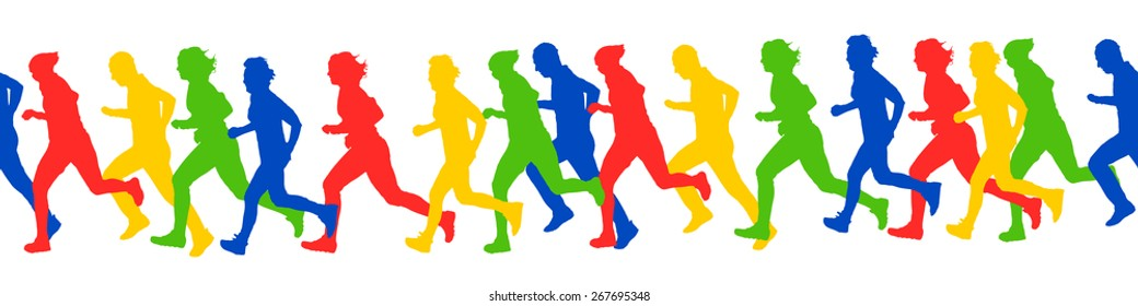 Runners silhouettes pattern vector illustration