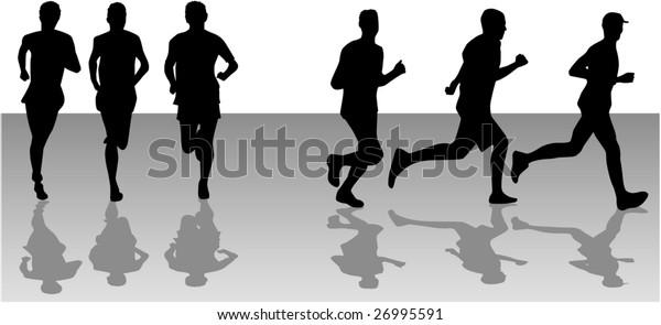 Running 2  - black silhouettes