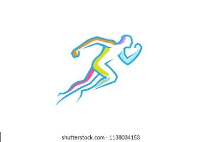 Running Abstract Man Colorful Lines Logo Symbol Vector Design Illustration