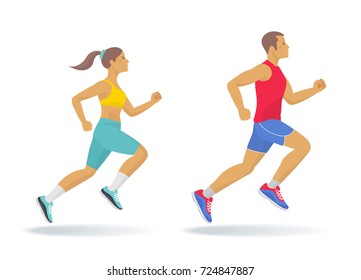 The running active people set. Side view of sporty running young man and woman in a sportswear. Sport, jogging, fitness, training concept. Flat vector illustration isolated on white background.