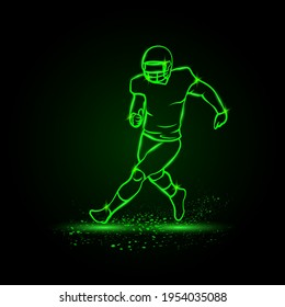 Running American football player without ball. Green Neon American football Sports Vector Illustration.